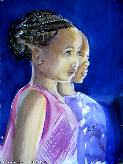 Opere D'arte >> Inspirational Paintings >> africano facce