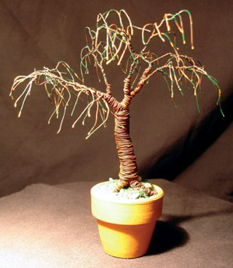 Opere D'arte >> Sal Villano Wire Tree Sculpture >> UMBRELLA BONSAI - Mini Scultura Albero Wire