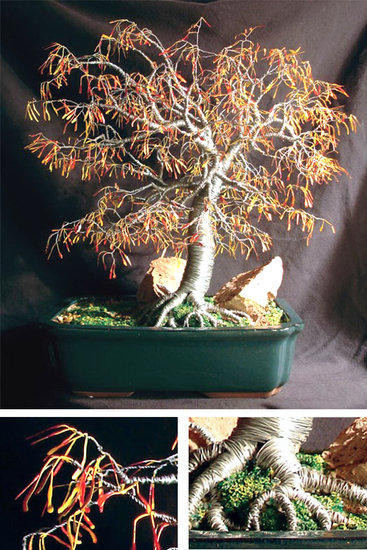 Opere D'arte >> Sal Villano Wire Tree Sculpture >> Autunno Bonsai - scultura albero filo , da Sal Villano
