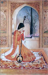 Classical Indian Art Gallery - SIGNORA CON SITAR ( Chugtai )