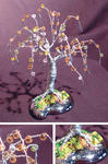 Sal Villano Wire Tree Sculpture - perline salice  -   mini filo  albero  scultura