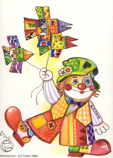 Opere D'arte >> Oxana Zaika >> GATTO clown/vendu