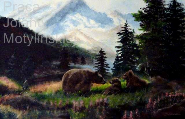 Opere D'arte >> Jolanta Motylinska >> Il Grizzly Bear in the Mountains
