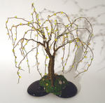 Sal Villano Wire Tree Sculpture - perline su  Nero  basare  -   filo  albero  scultura